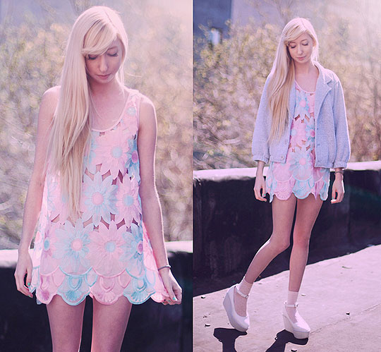 Springtime Pastels - Floral Festival Dress, Weeken, Blazer, American Apparel, Platform shoes, Weeken, Elle Ribera, United States
