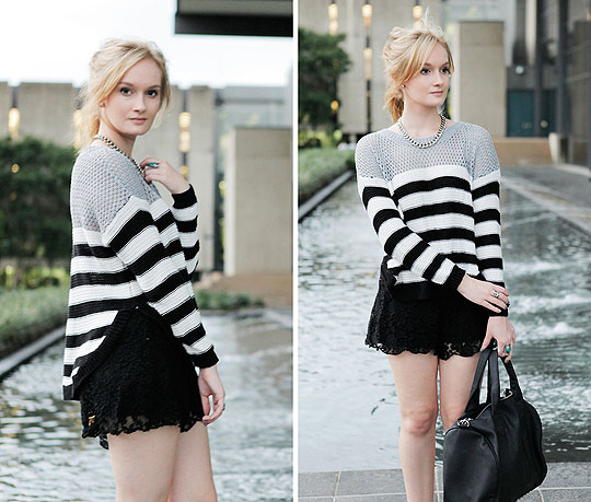 BREAK FREE - Striped Jumper, Weeken, Lace Shorts, Weeken, Bags, Weeken, Izzy Bea, Australia