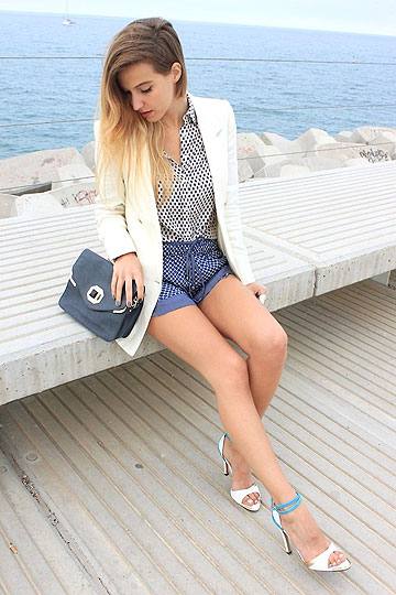 Mix & Match - Shirt, Zara, Shorts, Zara, Blazer, Mango, Heels-wedges, Weeken, IVANA J, Italy