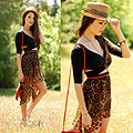 As We Walked in Fields of Gold - Sparkle fedora, Gap, Black crop top, Weeken, Leopard high low skirt, Weeken, Red fringe bagred fringe bag, Weeken, Jessica R., United States