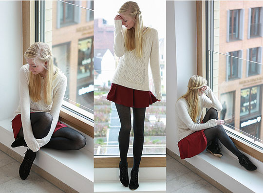 Rot wie blut, weiß wie schnee... - Sweater, H&M, Skirt, H&M, Shoes , Weeken, Joana Gröblinghoff, Germany