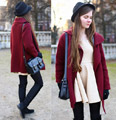 Burgundy coat - BURGUNDY COAT, Versace, BLACK SUEDE BOOTS, Weeken, POSTMAN BAG, Fion, BEIGE DRESS, Weeken, Ariadna Majewska, Poland