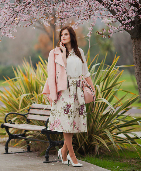PINK BLOOMING - JACKET, Christian Dior, NECKLACE, Yves Saint Laurent, CREAM BLOUSE, Zara, MIDI SKIRT, Valentino, BAG, Rebecca Minkoff, Viktoriya Sener