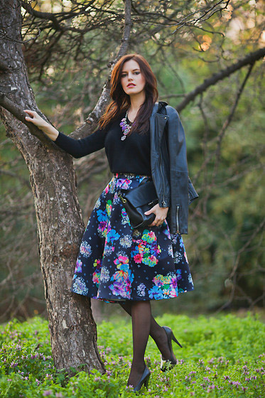IN THE FOREST - LEATHER JACKET, Mango, NECKLACE, Weeken, SWEATER, Zara, SKIRT, Holly Fulton, BAG, Zara, HEELS, ASOS, Viktoriya Sener, Turkey