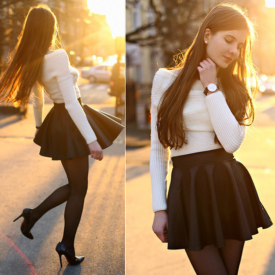 Black and white - WHITE SWEATER, H&M, LEATHER SKIRT, Weeken, WATCH, Zara, Ariadna Majewska