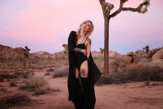 Witchy Woman - BASIC BODY SUIT, American Apparel, THIGH HIGH SOCKS, American Apparel, SHEER CHIFFON MAXI KIMONO, Weeken, ROSARY NECKLACE, Weeken, EMMA BOOTS, Zara, Brittany Bao, United States