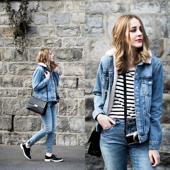 Denim on denim.  - JACKET, Beautiful lady, JEANS, NE, BAG, AS, TIPHAINE P, Switzerland