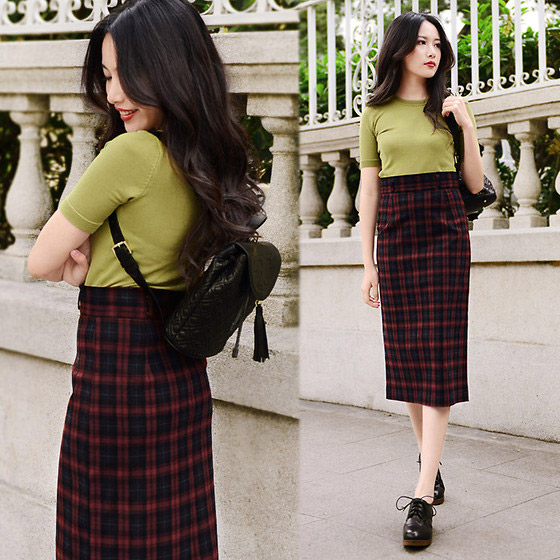 Plaid - Plaid Midi Skirt, GOCEYADI, Rosa, China