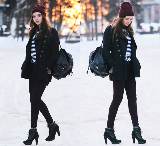 Blue stripes. Red hat - Hat, H&M, Coat, ASOS, Jeans, Warehouse, Boots, DKNY, Alexandra Erokhina, Russian Federation