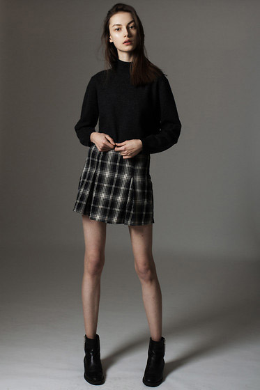 Simple love - Checked skirt, Zara, Boots, Zara, Maria Joanna, Poland