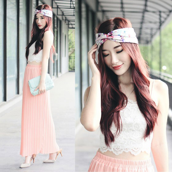 Head Scarf - Lace Bralette, Topshop, Pink Pleated Maxi Skirt, ASOS, Heels, AS, Elle Yamada, Indonesia