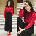Wide Leg + Bowtie - BELTED WIDE LEG HIGH WAIST PANTS, VASTO, BOWKNOT COLLAR ELEGANT SHIRT, VASTO, Rosa, China