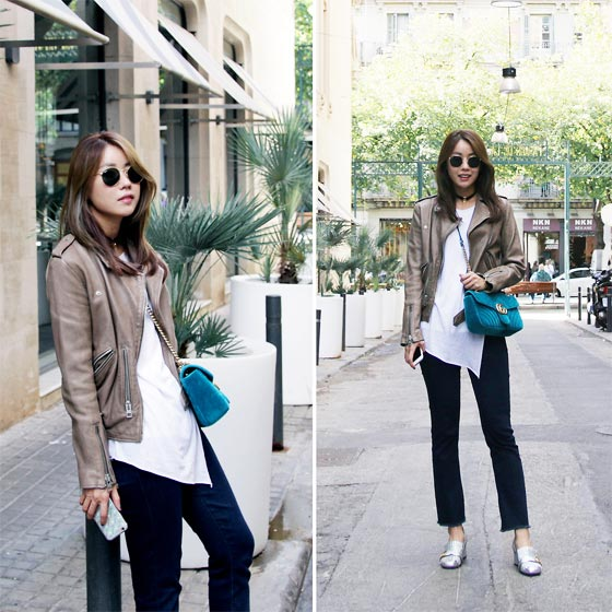 Casual dailylook with Rider Jacket - Sunglass, Ray-Ban, Leather biker jacket, Weeken, Marmont Bag, Gucci, Bootcut jeans, Weeken, Marmont Shoes, Gucci, Rekay Style, Korea