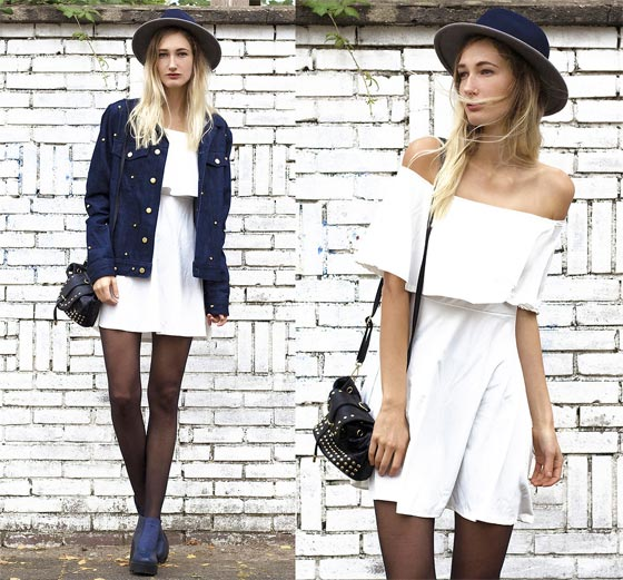 Rigorous - Dress, Weeken, Studded Jacket, ASOS, Hat, ASOS, Bag, Weeken, Blue Heels, H&M, Eva Velt, Netherlands