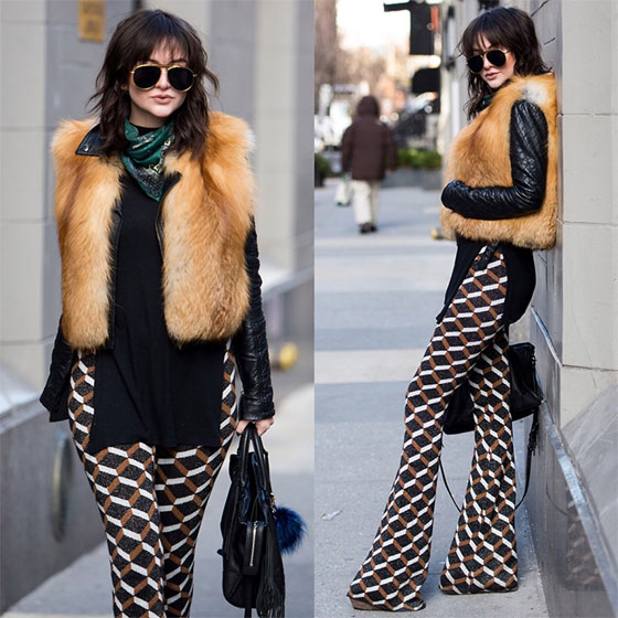 Hustlin' and Bustlin' - Glade Scarf, Weeken, Retro Pants, Weeken, Yellow Aviators, Weeken, Fur Vest, Weeken, Lexicon of Style Alexandra Dieck, United States