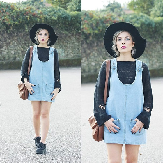 I can survive I'll walk through fire to save my - Denim dress, Weeken, Sweater, Weeken, Black hat, Weeken, Platform sneakers, Weeken, Cátia Gonçalves, Portugal