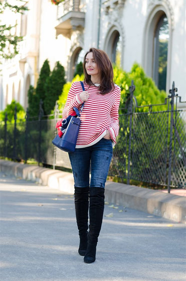 Stripes sweater & Over the knee boots - Sweater, Tommy Hilfiger, Jeans, Tommy Hilfiger, Over the knee boots, Versace, Bag, Weeken, Vintage Scarf, Weeken, Cristina Feather, Romania
