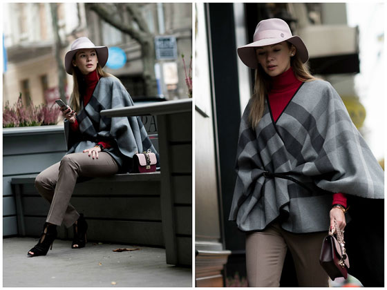 London style on Kyiv street - Cape, Burberry, Bag, Valentino, Trousers, Weeken, Hat, Maison Michel, Turtleneck sweater, Weeken, Shoes, Weeken, Anastasiia Masiutkina, Ukraine