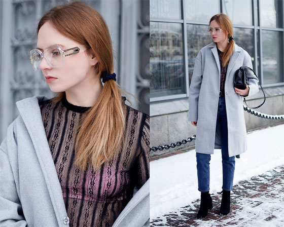 THE COLORS OF WINTER. - Sunglasses, Weeken, Coat, Weeken, Blouse, Weeken, Jeans, Weeken, V, Weeken, Kristina Magdalina, Ukraine