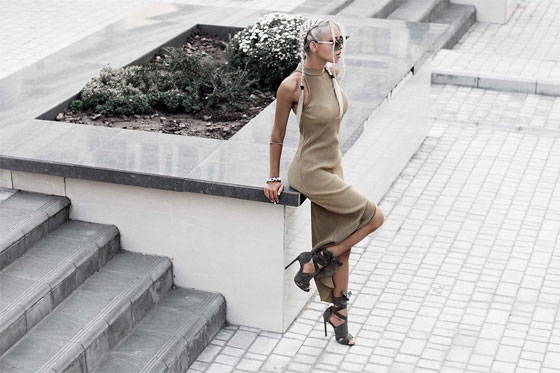 How to wear pleated dress - Pleated Dress With High Split, Weeken, Khaki wrap up sandals, Weeken, Kristina Dolinskaya, Ukraine