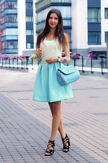 Sky Blue Fashion in Los Angeles - Bag, Weeken, Black Heels-wedges, Weeken, Blue Skirt, Weeken, White Top, Weeken, Ann Grigorieva, Russia