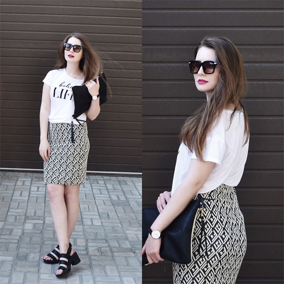 Pencil skirt - Sunglasses, Weeken, Black sandals, Weeken, Skirt, Weeken, Top, Weeken, Olga Karambolia