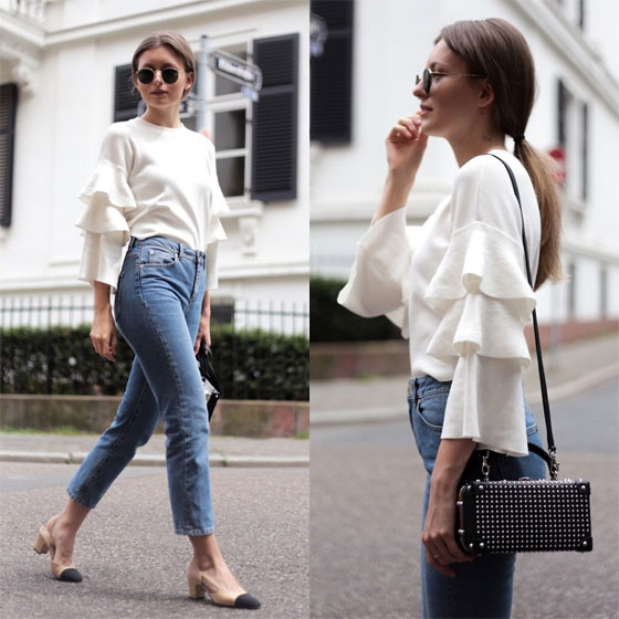 Frilled Knit, Mom Jeans & Chanel Pumps - Ruffled knit, Weeken, Mom jeans, Weeken, Round metal sunglasses, Ray-Ban, Slingback pumps, Weeken, Livia Auer, Germany