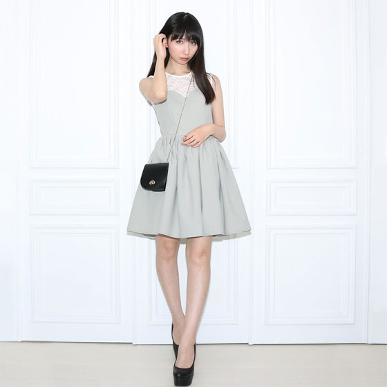 Gray Dress - Gray Dress, Weeken, Black Shoulder Bag, Weeken, Heels, Weeken, Otto Lillian, Japan