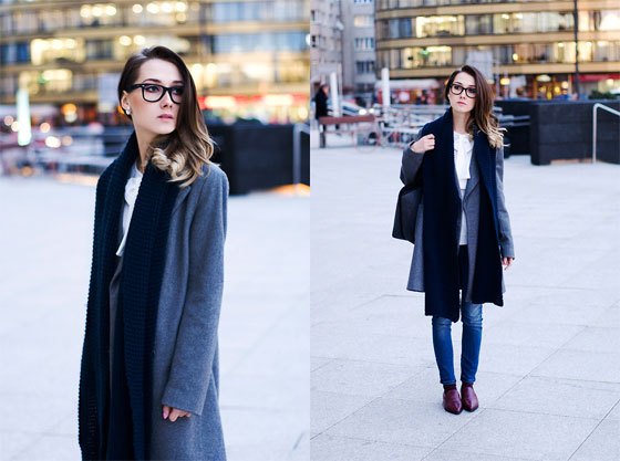 C is for Classic! - Coat, Zara, Scarf, Weeken, Glasses, Ray-Ban, Bag, Weeken, Pants, LEE, Shoes, Weeken, Olga Oktawia, Poland