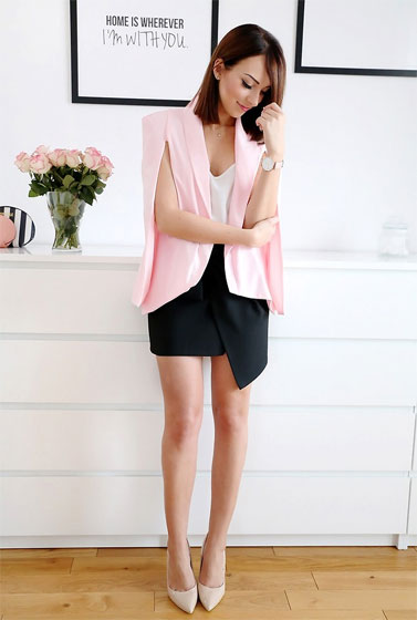 PINK CAPE JACKET - DeeZee Shoes Precious, Weeken, Zara Skirt, Zara, SheIn Pink Cape Jacket, Weeken, Joanna K., Poland