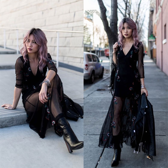 Dark flower - Pleather booties, Weeken, Black flower sheer dress, Weeken, Catherine pham, United States