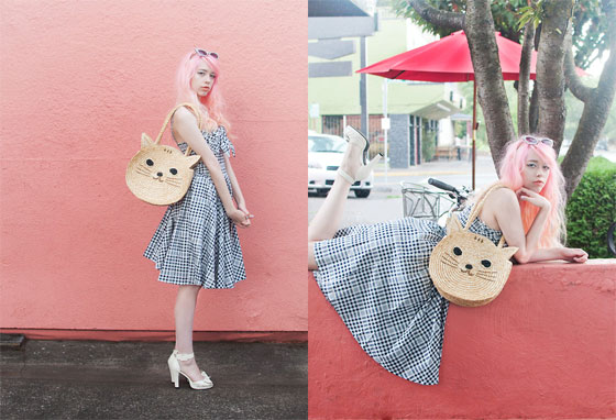 Mew - Kitty Purse, Weeken, Creamy Heels, T.U.K., Gingham Swing Dress, Weeken, Glittery Cateye Sunglasses, ASOS, Kailey Flyte, United States