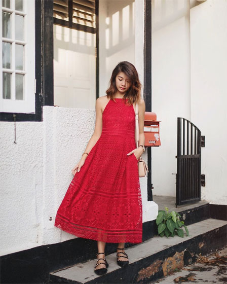 RED LACE - Dress, Weeken, Bag, Weeken, Flats, Weeken, Amelyn B, Singapore