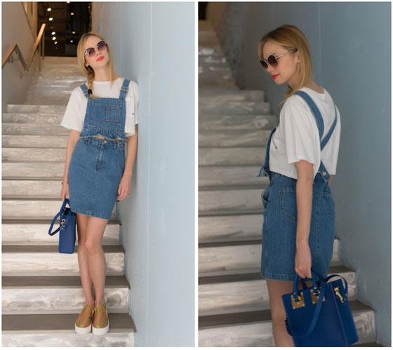 Denim street style! - Steve J. denim skirt and top, Weeken, Sophie Hulme bag, Weeken, Aperlai shoes, Weeken, Anastasiia Masiutkina