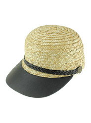 Straw leather cap