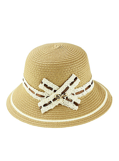 Cross lace straw hat