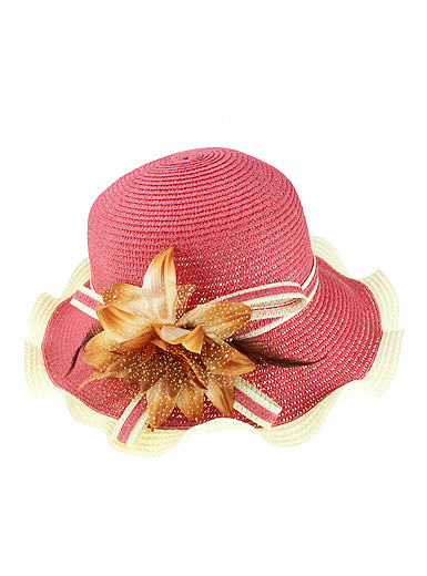 Wavy edge large brimmed hat