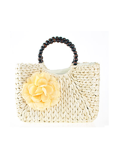 Fashion bead flower straw beach bag handle
