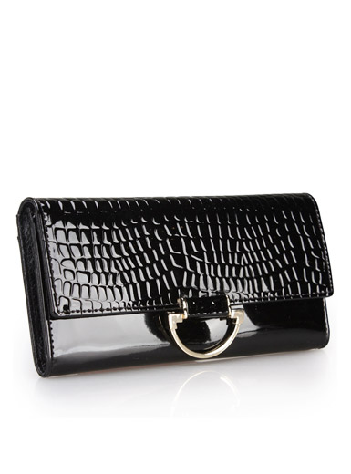 The new patent leather stone pattern ladies leather wallet practical