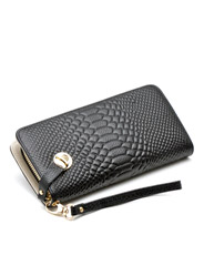 Long leather zipper wallet crocodile pattern hand