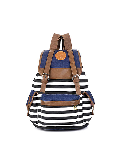 Casual striped canvas shopping bag