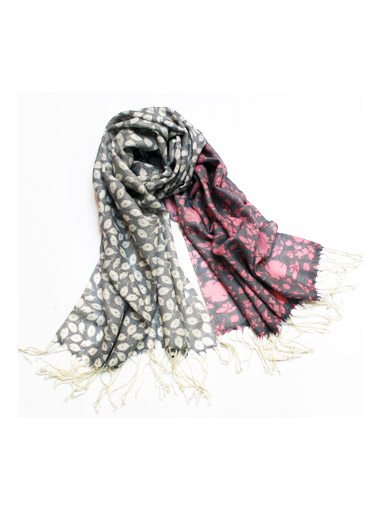 Printed wool shawl scarf