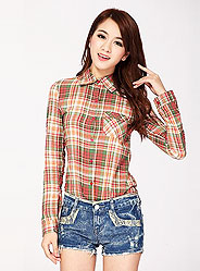 Summer long sleeve plaid shirt