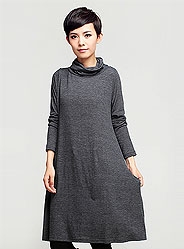 Autumn simple loose piles collar long-sleeved dress Large Hem