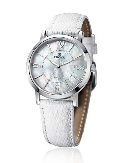 Love the white mother of pearl disc slim fashion lady watch