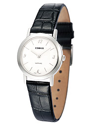 Simple white plate leather strap quartz female table