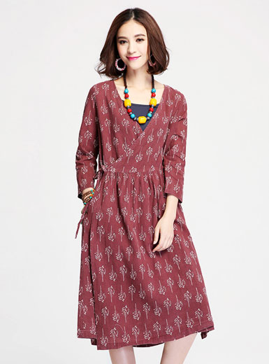 new fashion collar V printing long waist dress