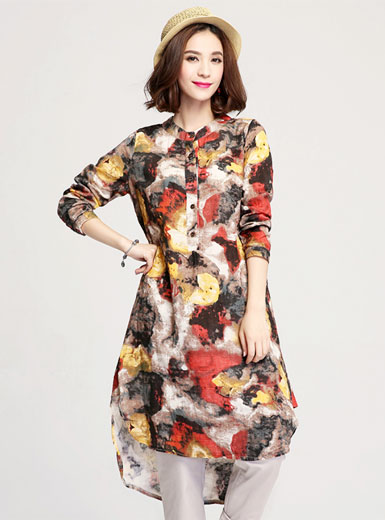 New fashion printed long lotus type swing dress