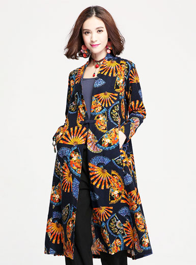 The new printing long single button dress