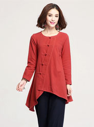 In the long section of the irregular swing casual shirt